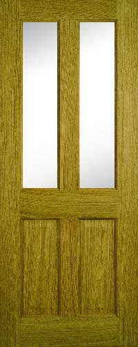 Contract Oak 4 Panel Clear Glass