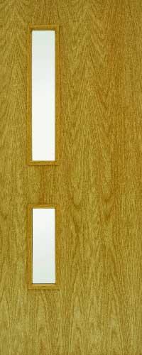 FD30 Oak Fire door – 2 Glass ope – Clear Glass – GC05